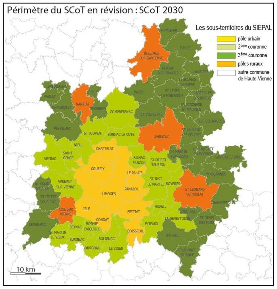 Périmètre du SCOT de l'agglomération de Limoges